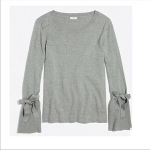J CREW Bow Tie Bell Sleeve Gray Crew Neck Sweater